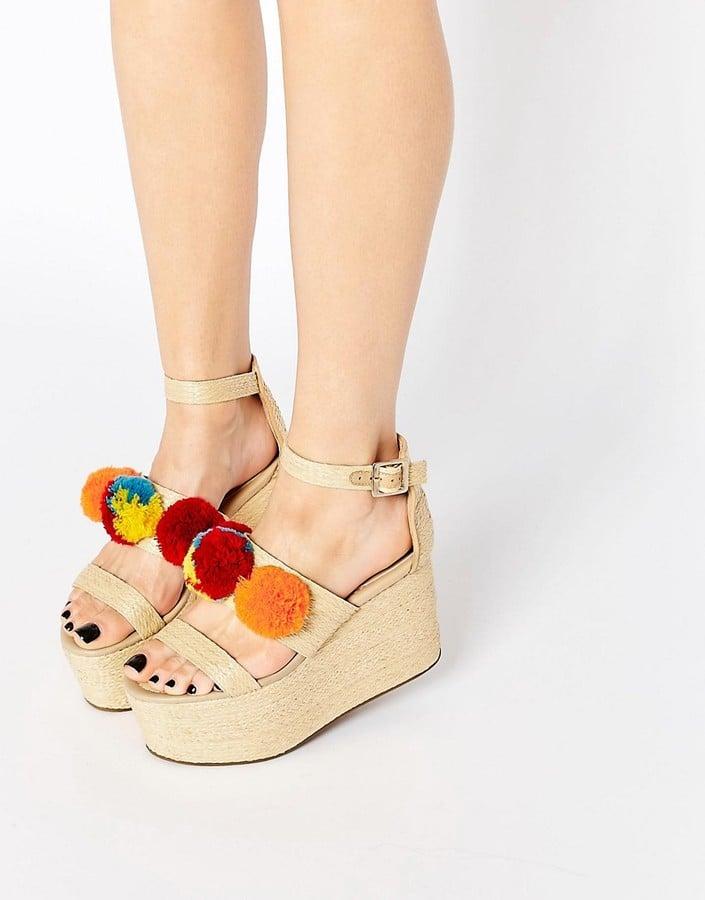 ASOS Together Pom Pom Wedge Sandals ($73)