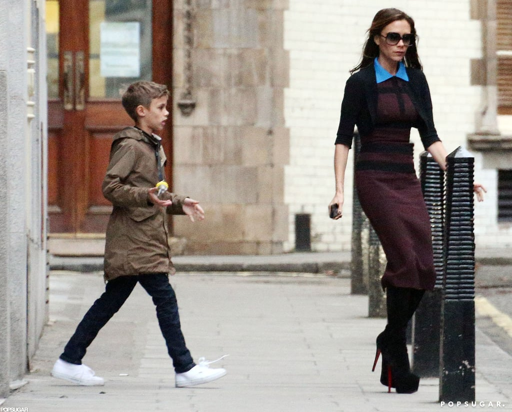 Victoria and Romeo Beckham left their London hotel.