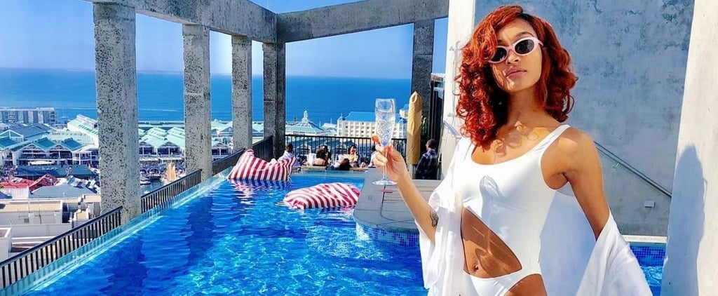 Jourdan Dunn White Solid and Striped Swimsuit