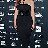 She Styled a Wide Belt Over a Body-Hugging, Strapless Sheath at the Harper's Bazaar Party