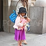 Suri Cruise with her nanny.