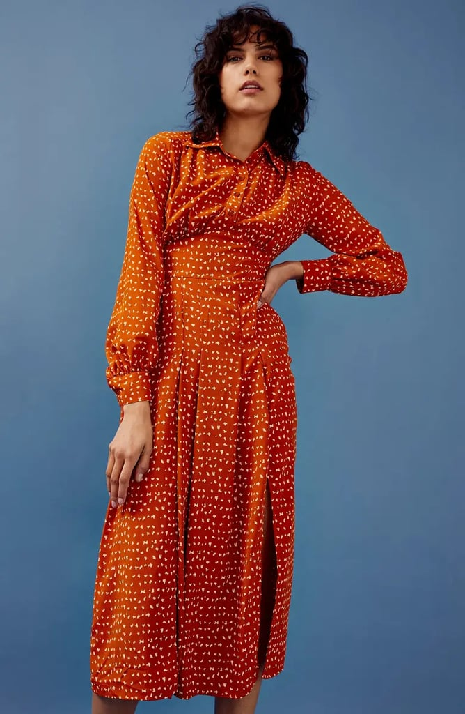 Topshop Dot Print Long Sleeve Shirtdress