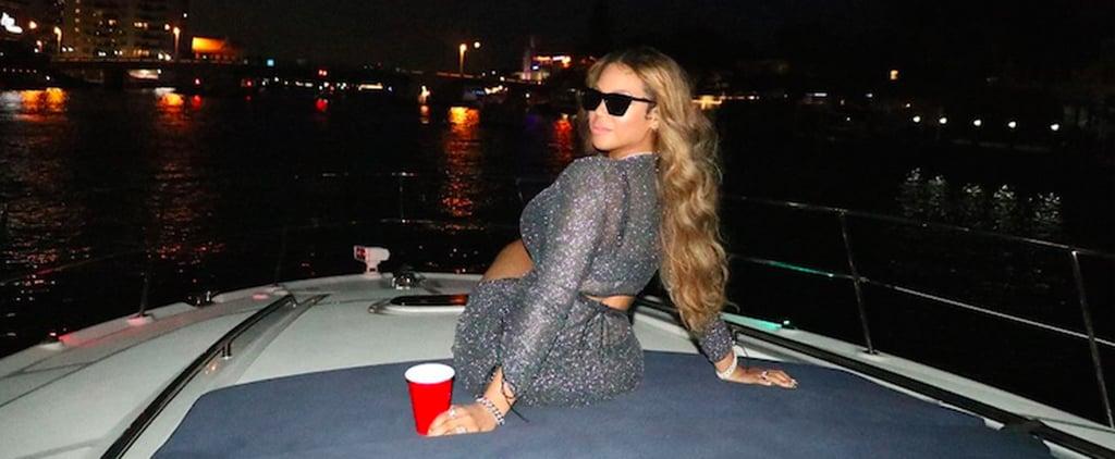 Beyoncé Wears a Metallic Oséree Outfit on a Boat