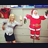 Angela Kinsey got into the holiday spirit on the set of The Office. Source: Instagram user angelakinsey