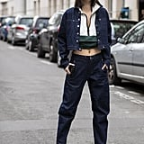 Style a crop top with jeans and a denim jacket.