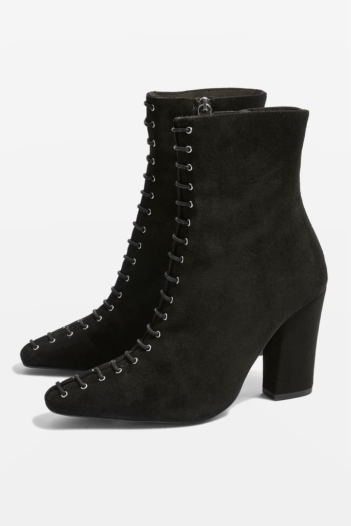 2637bb30425 Topshop Harriet Lace-Up Suede Boots | Black Ankle Boots Fall 2018 ...