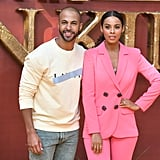 Pictured: Marvin Humes and Rochelle Humes at The Lion King premiere in London.