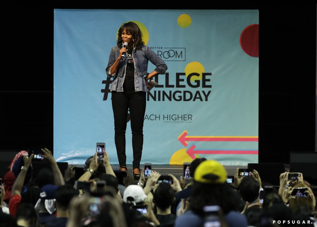 Michelle Obama may no longer be in the White House, but she still has style for days. The former first lady gave a speech to a group of Philadelphia high school seniors, and of course, her outfit was inspiring as heck. For the event, Michelle showed off her fashion-forward style in a quirky denim look that had us in a spell. At first, it looked like Michelle was wearing two denim jackets, but she could also be giving the deconstructed denim trend a try. To tame the rest of her outfit, Michelle styled her denim look with a pair of J Brand skinny jeans and black ankle-strap heels. Read on to see Michelle's interesting jacket and to buy similar versions of her look for your wardrobe if you choose.      Related:                                                                                                           9 Iconic First Lady Gowns Worth Talking About