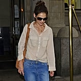 Katie Holmes left her NYC apartment.