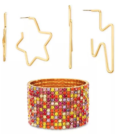 Gold-Tone Multicolor Pavé Stretch Bracelet & 2-Pc. Hoop Earring Gift Set