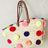 Anthropologie Marrakech Pom Pom Straw Tote