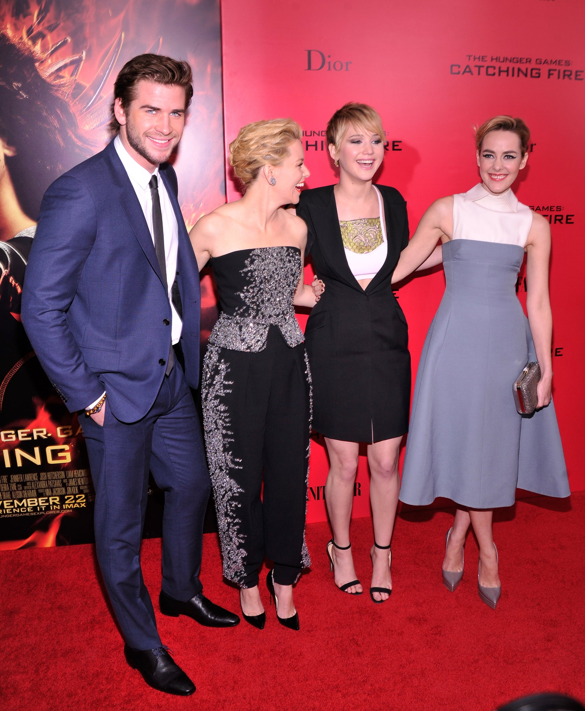 Jennifer Lawrence, Liam Hemsworth, Elizabeth Banks, and Jena Malone shared smiles and laughs at the event.