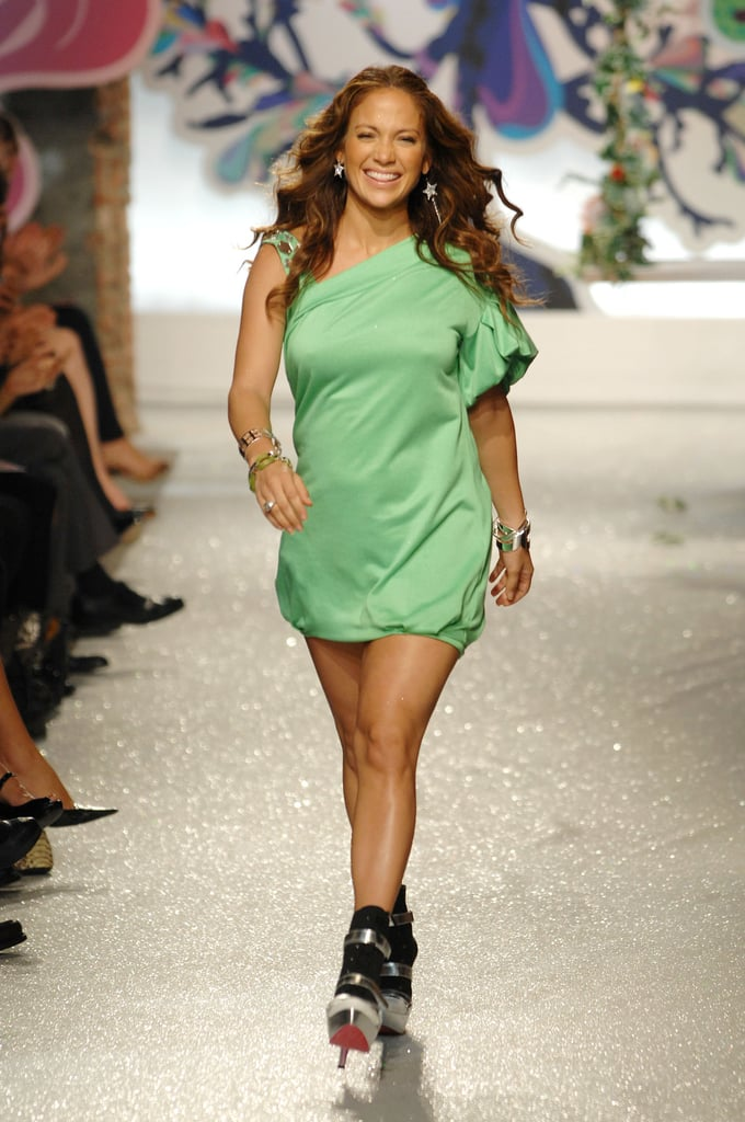 A pregnant Jennifer Lopez closed her Spring JustSweet runway show in February 2008.