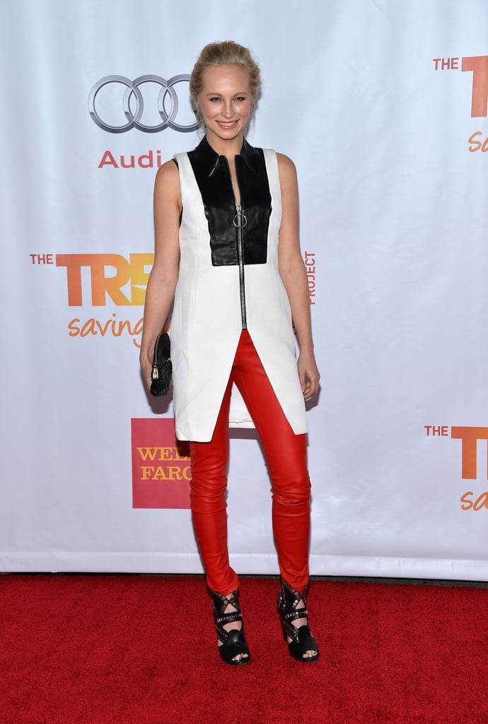 Candice Accola doubled up on leather in a colorblock Alexander Wang vest, scarlet pants, and cutout Azzedine Alaïa sandals for the Trevor Project Benefit in LA.  Where to Wear: A couple rounds of bowling. Note: you may want to do a few stretches for optimal leather functionality.