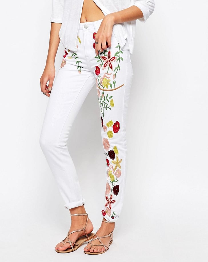 Glamorous Embroidered Girlfriend Jeans ($64)
