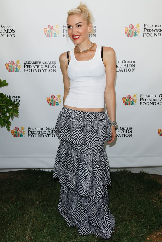 Gwen Stefani wore a maxi skirt and white tank to the annual A Time For Heroes Celebrity Picnic in LA.