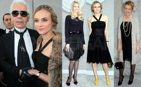 Claudia Schiffer, Diane Kruger, and Blake Lively Attend the Chanel Haute Couture Show in Paris on January 22, 2008