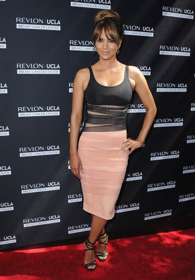 Halle Berry Stuns in Pink and Black David Koma Bodycon Dress at Revlon Luncheon