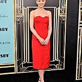 For the NYC premiere of The Great Gatsby, Carey Mulligan wowed in a red Lanvin dress, ankle-strap Brian Atwood sandals, and Tiffany & Co. jewels.