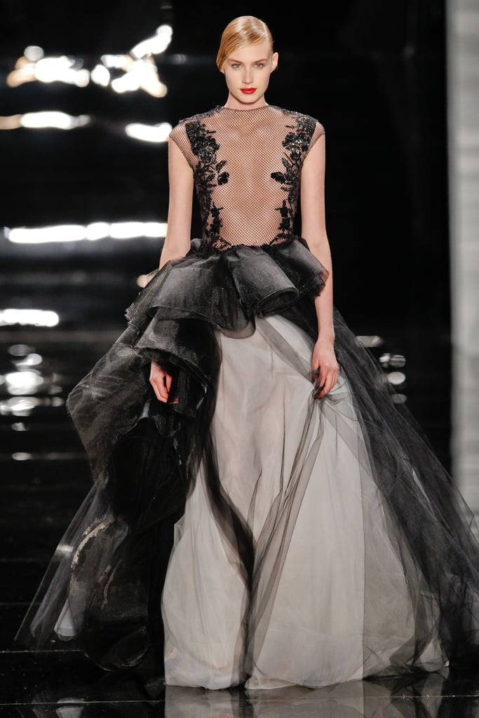 Charlize Theron (who is making a special appearance on stage during the ceremony) is well-known for taking red carpet risks, so we'd love to see her go all out in this sheer, full-skirted Reem Acra confection.