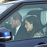 Back in December 2017, Meghan also wore a high-neck lace dress from the brand, proving that she isn't scared of their slightly more daring creations.