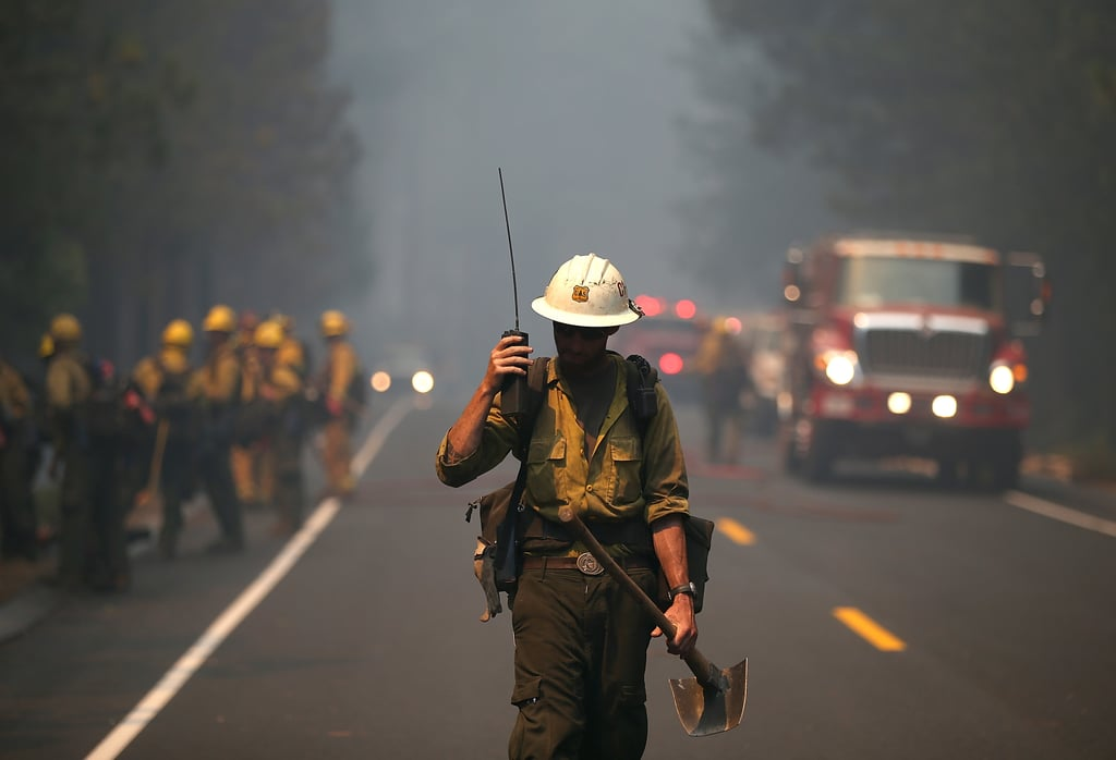 Firefighters flocked to the area to help battle the flames.