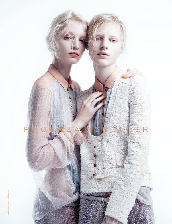 >> This morning in the Spring 2011 ad edition: Proenza Schouler released a trio of images featuring ghostly pair Julia Nobis and Melissa Tammerijn by Willy Vanderperre, a new shot of Gisele Bundchen for Balenciaga, a first look at Joan Smalls for Roberto Cavalli, and more.