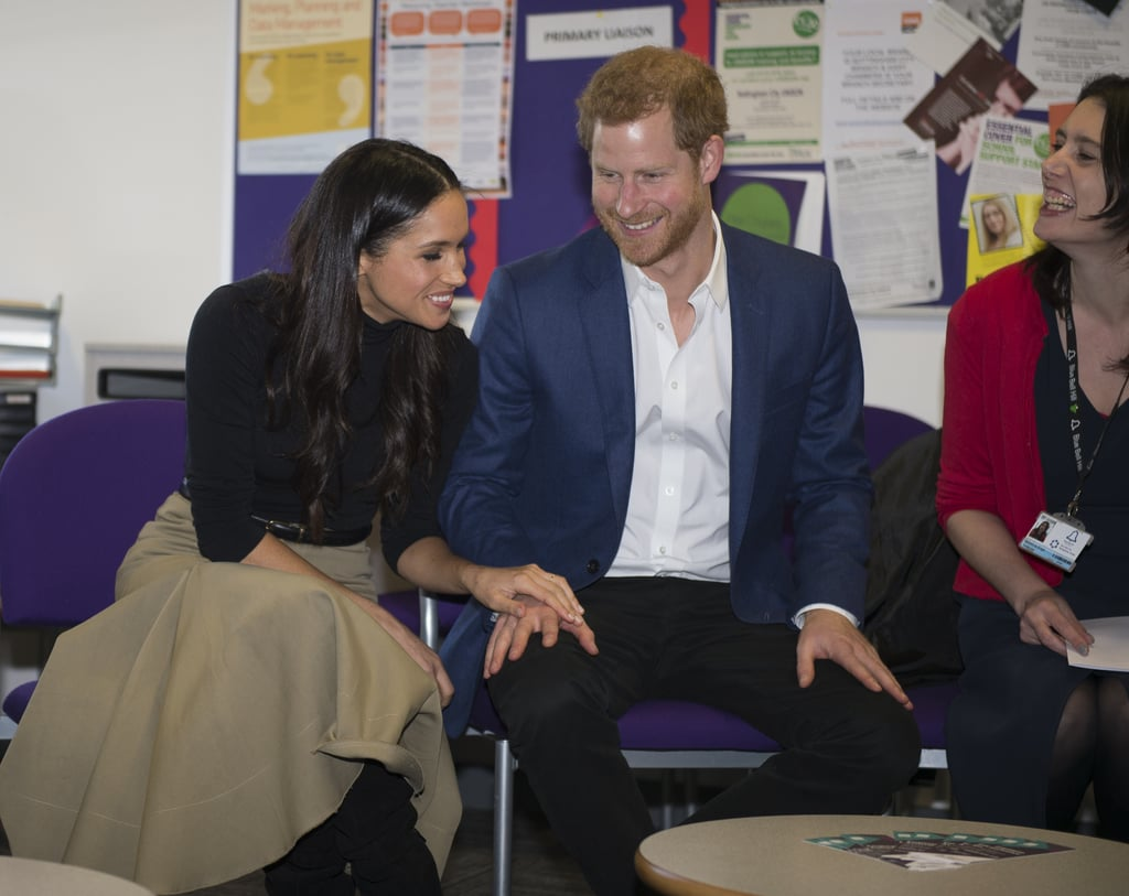 "After announcing their engagement on Monday, Prince Harry and his new fiancée, Meghan Markle, wasted no time in getting to work. On Friday morning, they visited Nottingham, England, for their first official appearance together. Kensington Palace tweeted that Harry was ""delighted to be introducing the city to Ms. Markle,"" and she definitely got a warm welcome.  Despite freezing temperatures in the UK, crowds began gathering in the early hours, desperate to catch a glimpse of the happy couple. Harry and Meghan smiled and waved as they greeted the public outside the National Justice Museum, and Meghan gave us another glimpse of her beautiful engagement ring, as she kept cozy in a navy coat and held on to her Strathberry Midi Tote. While greeting the crowd, Harry was asked by a fan what it's like to be with someone like Meghan ""as a ginger,"" to which he jokingly replied, ""It's great isn't it? Unbelievable!""  The pair then began the short walk to Nottingham Contemporary, where a Terrence Higgins Trust World AIDS Day charity fair is taking place. They happily chatted with everyone there, and Prince Harry was even gifted with a jersey. Later in the day, they toured more parts of the city, including a trip to see schoolkids at the Nottingham Academy. Harry excitedly shook hands with some of the students, and then the couple watched a kick boxing demonstration. Read on to see highlights from their day! Video: Hilarious from a red-headed member of the crowd asking Harry how it felt to be with #Meghan 'as a ginger'. 'It's great, isn't it?!' He replied. #Harry #Meghan pic.twitter.com/taPpdytTVJ— Rebecca English (@RE_DailyMail) December 1, 2017"