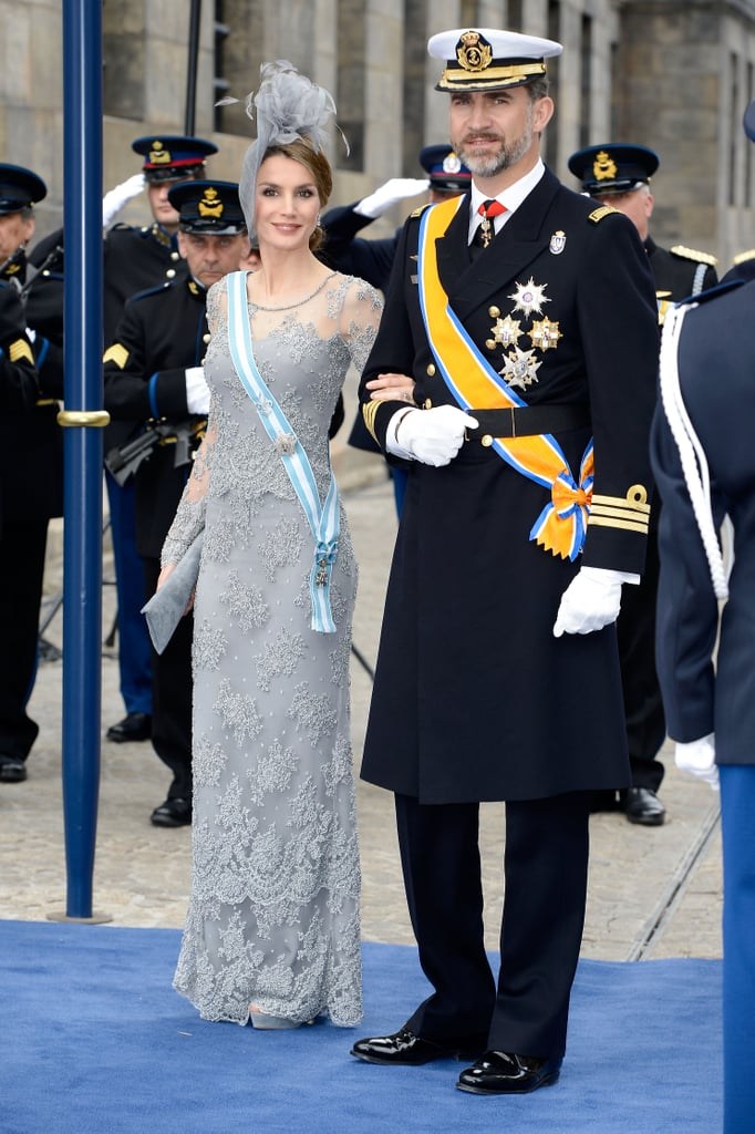 Letizia and Felipe got dressed up for the inauguration of King Willem-Alexander of the Netherlands in April 2013.
