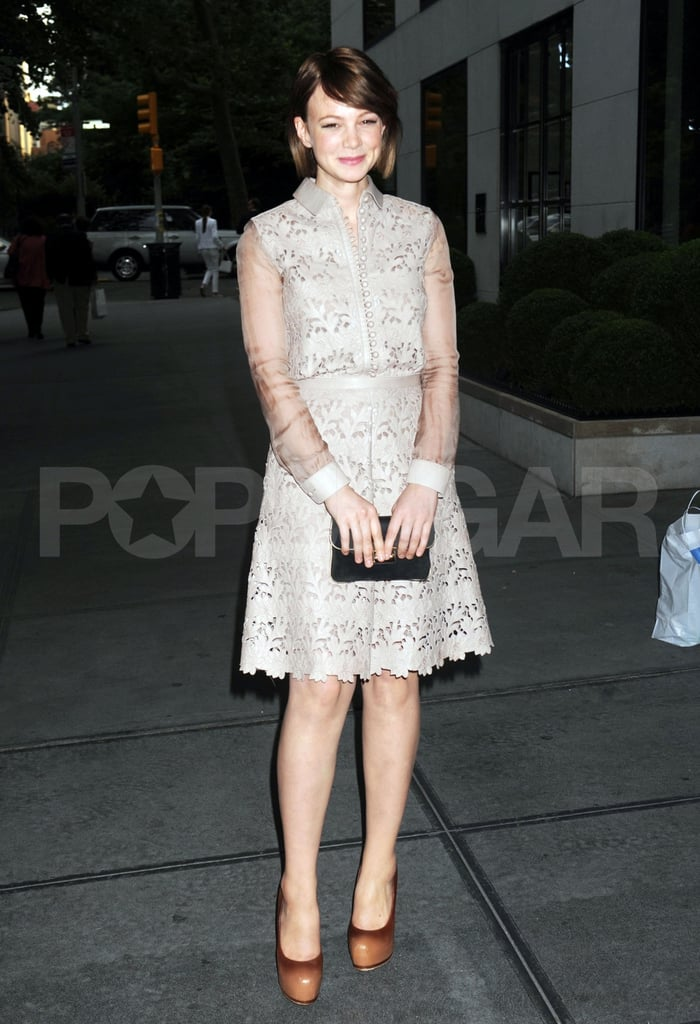 Carey Mulligan was decked out in Valentino last night to attend the Junior Spring Benefit for the Lincoln Center Institute at the Gramercy Park Hotel. She posed for photos with pal Zoe Kazan on her way inside, and later joined other hosts of the event, like actresses Lily Rabe and Mamie Gummer, to listen to a performance from Karen Elson, who just threw a divorce party to celebrate her split from Jack White. Carey had the evening off from performing in her off-Broadway show, Through a Glass Darkly. The role has earned her raves, and she'll end her run in a few weeks on July 3. Carey will then turn her attention to playing Daisy Buchanan in Baz Luhrmann's The Great Gatsby. The actress will team up with Leonardo DiCaprio for the project, though she was recently linked to another leading man in real life — Carey Mulligan is reportedly dating Marcus Mumford from the band Mumford & Sons.