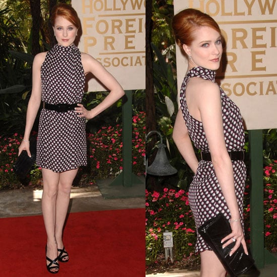 Actress Evan Rachel Wood in Polka-Dot Gucci Dress at Hollywood Foreign Press Association's Annual Luncheon 2009