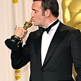In 2012, best actor victor Jean Dujardin gave his Oscar plenty of loving attention.