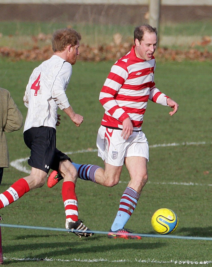 Prince William went head to head with Prince Harry and his beard during a soccer game at Castle Rising in Norfolk, England, on Christmas Eve. The royal brothers were recently reunited after Prince Harry returned from his South Pole trek. Over the holidays, they stayed in Sandringham with the rest of the royal family, but the pair took some time to enjoy a muddy game with estate workers and some of the locals. Both Will and Harry were all smiles afterward, hugging and laughing after playing against each other, and the good cheer continued on Christmas Day. Along with Queen Elizabeth II and Kate Middleton, the royals attended holiday services in King's Lynn, England.
