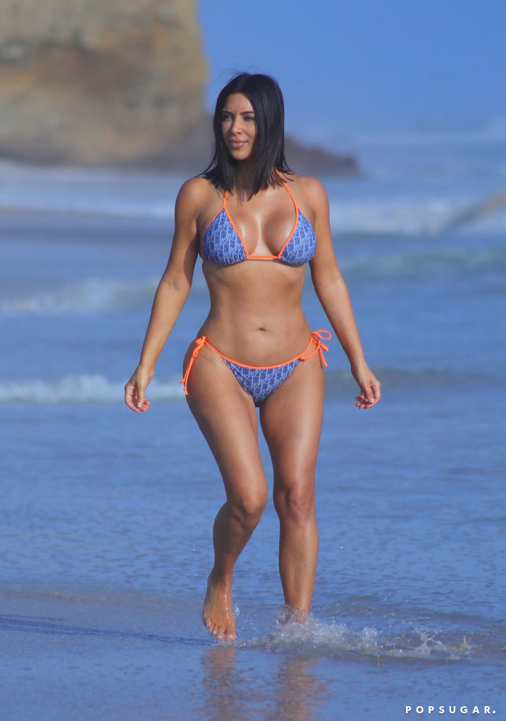 She showed off her curves in a blue and orange logo bikini during a trip to Mexico in April 2017.
