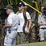 Leonardo DiCaprio held a snake on his shoulders.