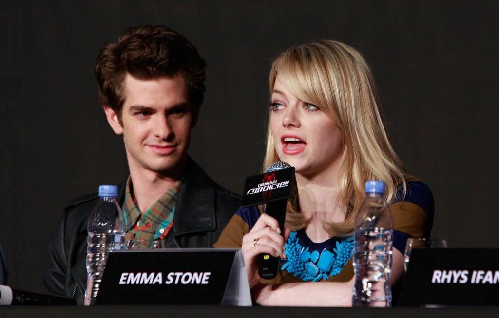 Andrew Garfield had his eyes on Emma Stone at a press conference for The Amazing Spider-Man in Seoul.