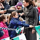 Kate greeted a group of young girls during a day of engagements in North Wales in November 2015.