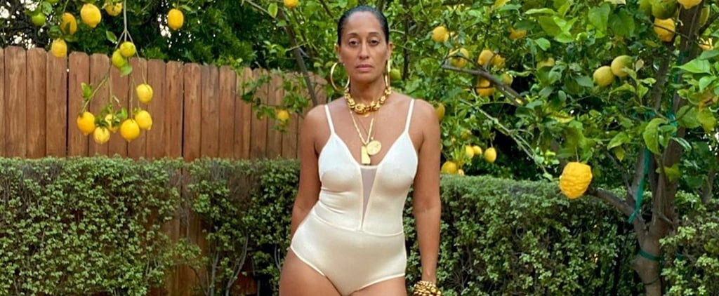 Tracee Ellis Ross in Swimsuit and Heels in Yard on Instagram