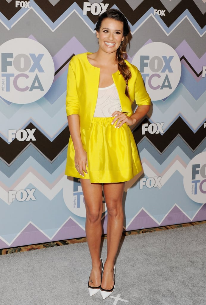 Leave it to Lea to brighten up the 2013 Winter TCA party in a vibrant Lisa Ho set, a cropped jacket and mini. The actress accessorized her fresh pairing with a no-fuss braid, mesh-inset pumps, and white-hot nails.