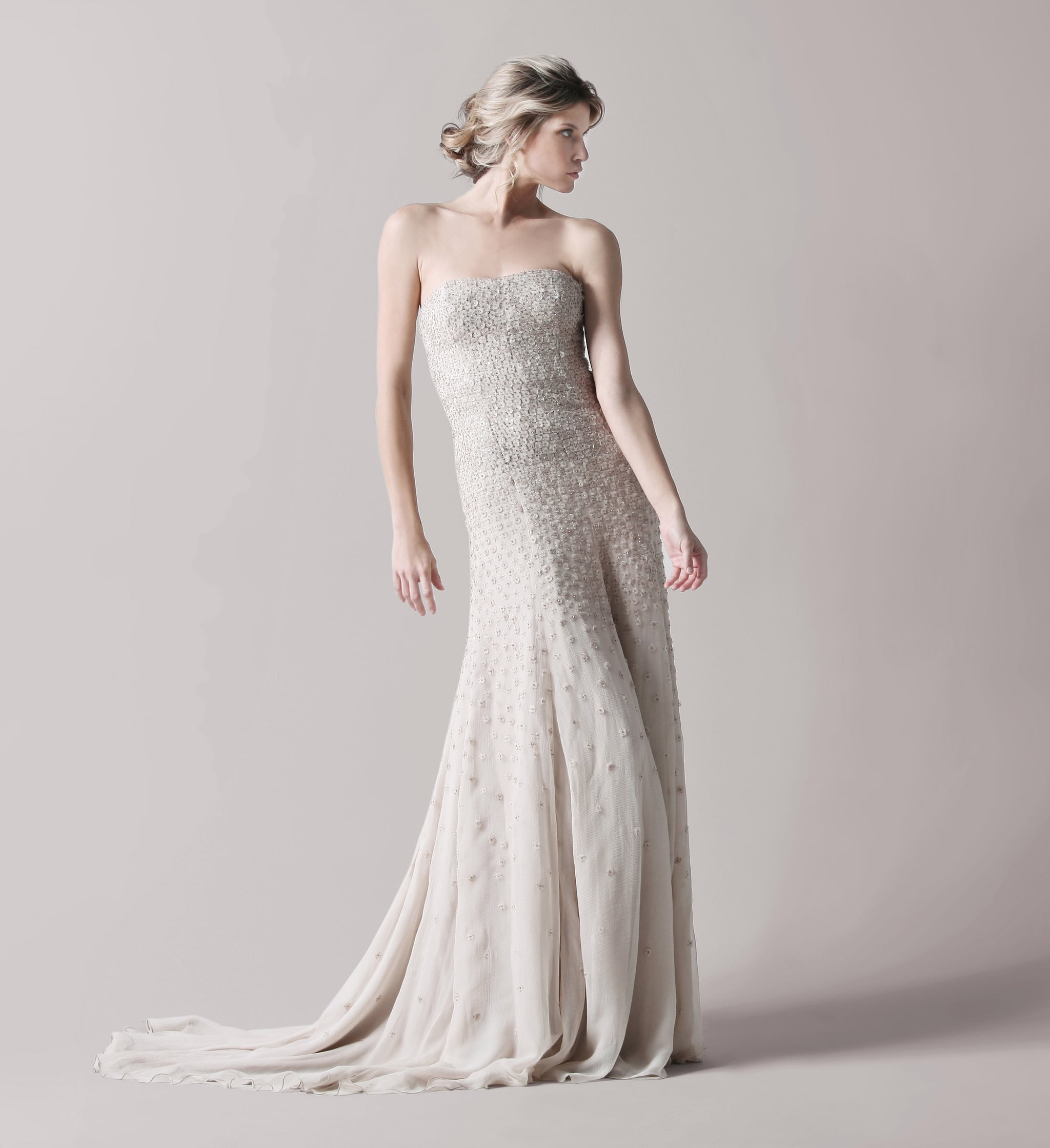 Beaded ivory strapless gown, approx $4981, Lela Rose
