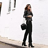 Style Your Ankle Boots With Jeans, a Leather Jacket, and a Cute Bucket Bag