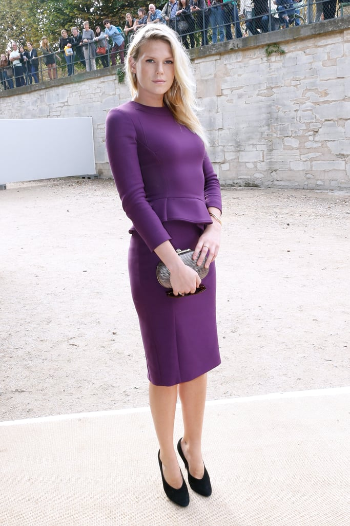 Outside the Elie Saab runway show, Alexandra Richards caught our eye in a pretty purple sheath.
