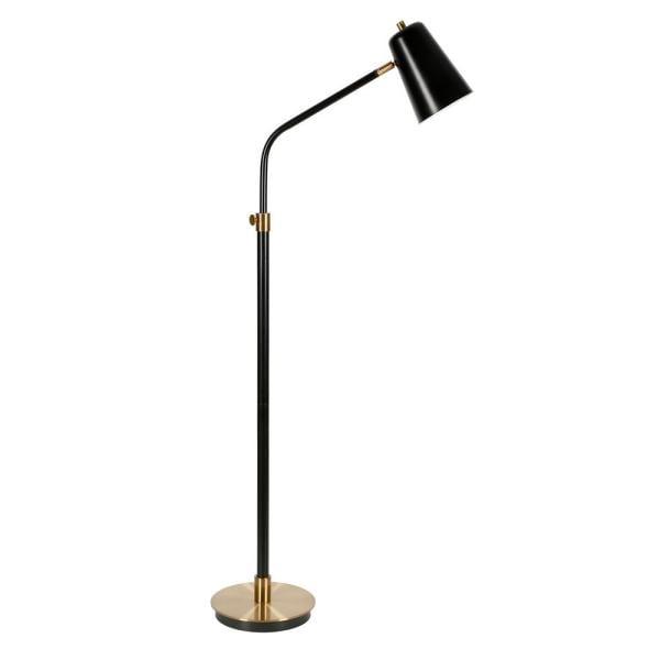 Meyer & Cross Austen 65 in. Matte Black and Brass Floor Lamp