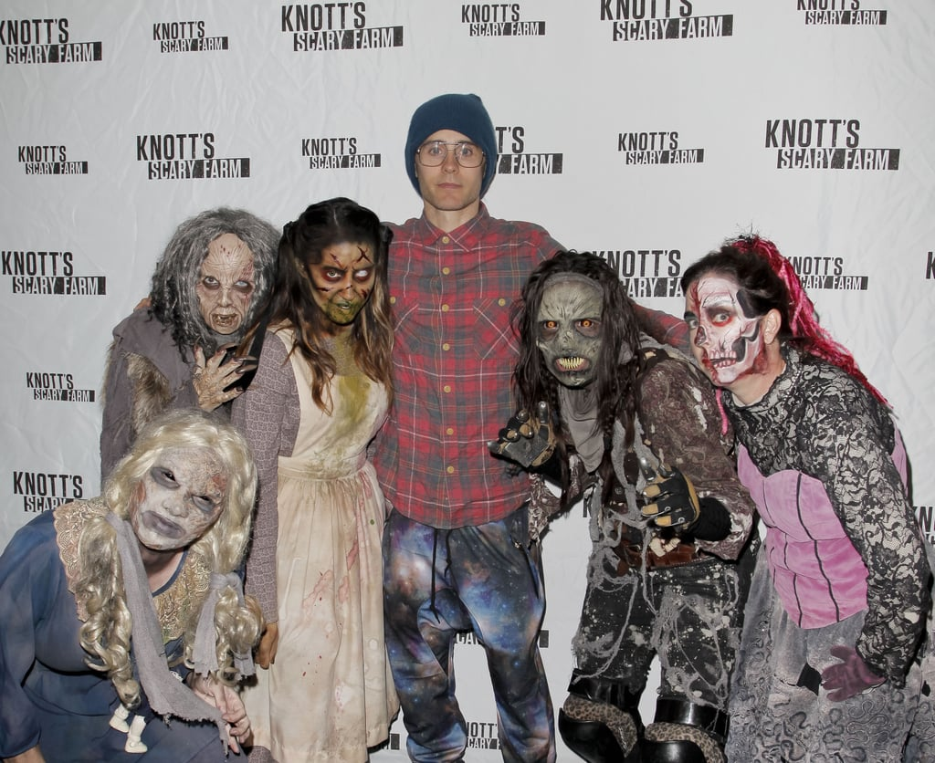 Jared Leto must be really excited for Halloween, because the actor has already started celebrating! On Friday, he and his brother, Shannon, hit up Knott's Scary Farm in Buena Park, California, and hung out with a group of zombies. Of course, Jared isn't the only star who's been in a festive mood — Taylor Lautner, Rita Ora, and Vanessa Hudgens have all stopped by to check out the attraction. Justin Bieber and Kourtney Kardashian also stepped out at Hollywood Horror Nights in LA to check out some frights last week. Keep reading to see more photos from Jared's spooky day out, then get your own Halloween inspiration with these creative costumes!