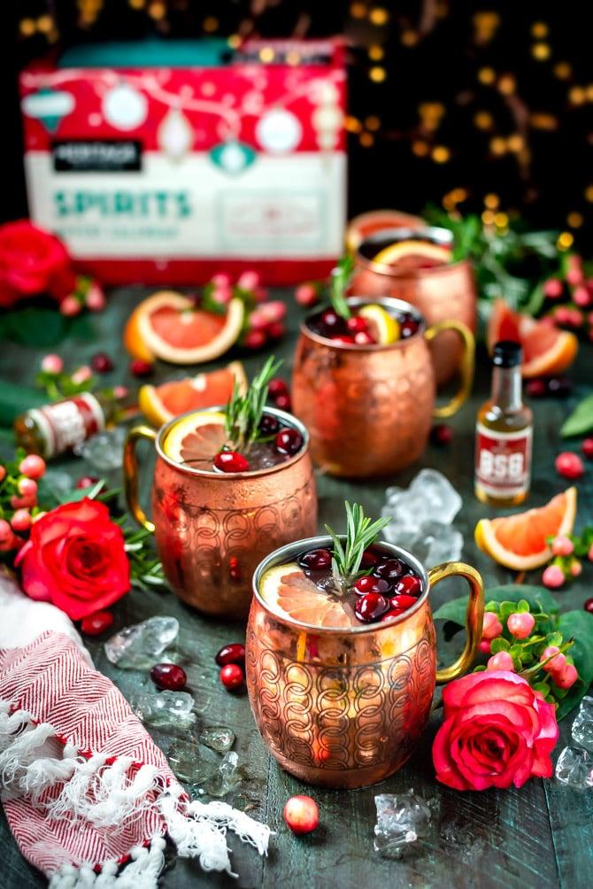 Grapefruit Bourbon Yule Mules