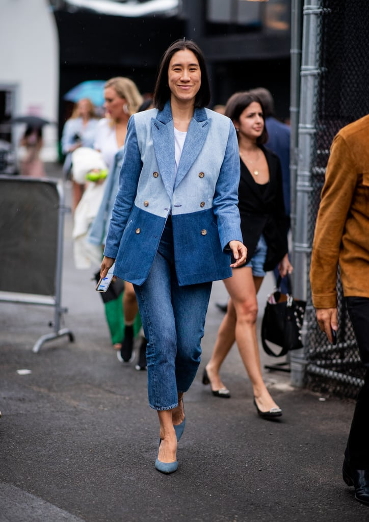 For a tailored take, try a denim blazer with cropped jeans and pumps.
