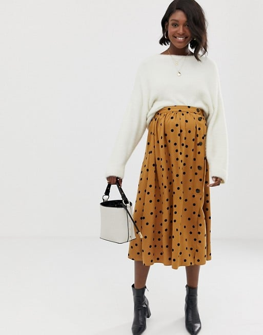 ASOS DESIGN Maternity button front midi skirt in polka dot | ASOS