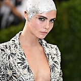 When Cara Delevigne Painted Her Shaved Head Silver and Bedazzled It