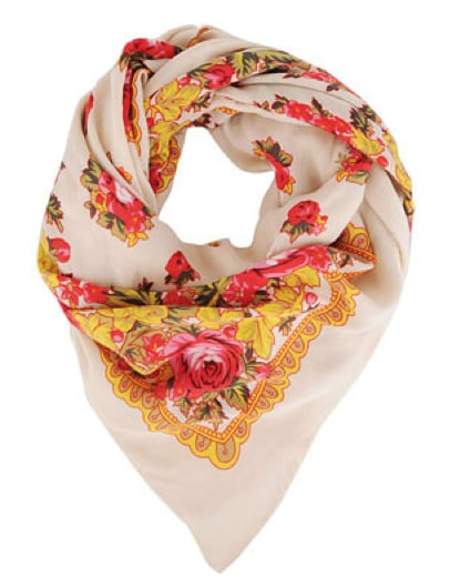 The retro floral design evokes an English countryside feel; thus, wear this scarf with your tailored trousers and more equestrian-infused clothes. Forever21 Floral Trimmed Scarf in Cream/Red ($9)