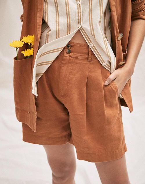 Linen Long Pleated Shorts